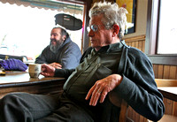 Sandpoint filmmaker Eric Daarstad and the morning coffee crew at Monarch Mountain Coffee, 2010